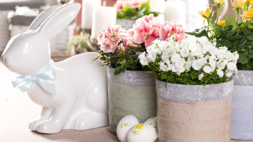 Frühlingsdeko in zarten Farben für das Osterfest