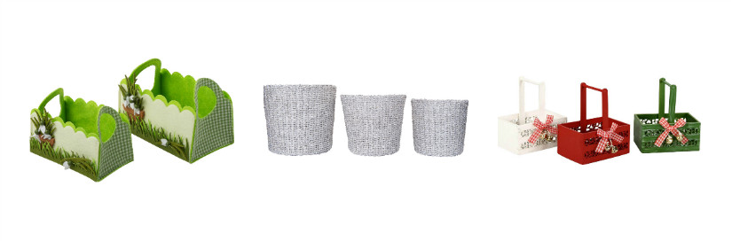 Osterdeko mit Korb-Vasen