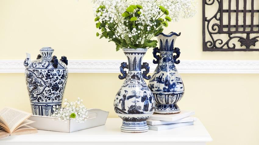 Blumenvasen dekorieren blau weiß