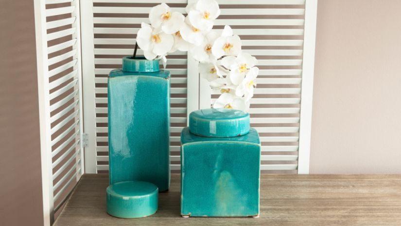 Vase türkis aus Keramik