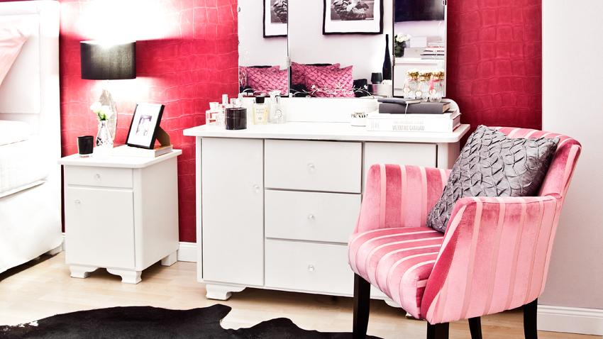 Frisiertisch und Stuhl in Pink