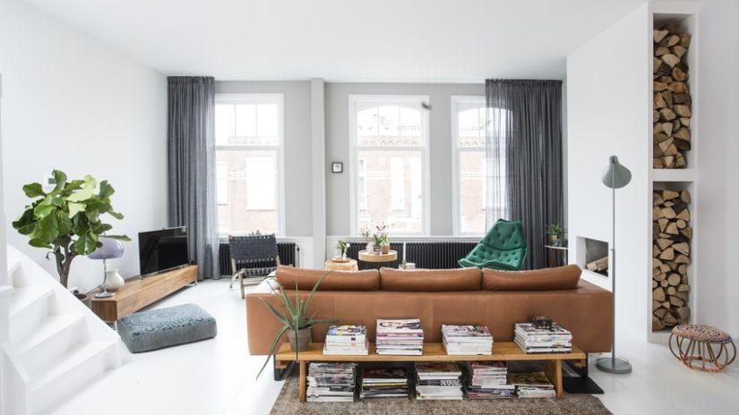 Vorhänge ohne Bohren im Wohnzimmer