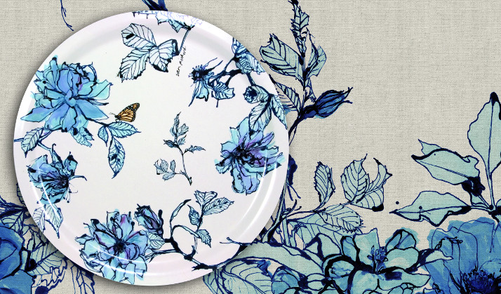 Ary Trays Teller mit blauem Muster