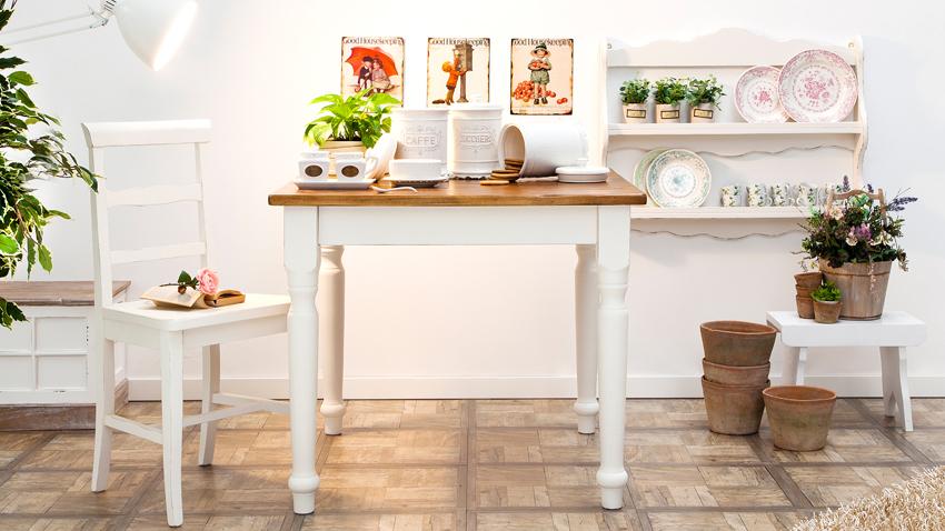 Küchentisch in  Weiß mit Ablagefläche