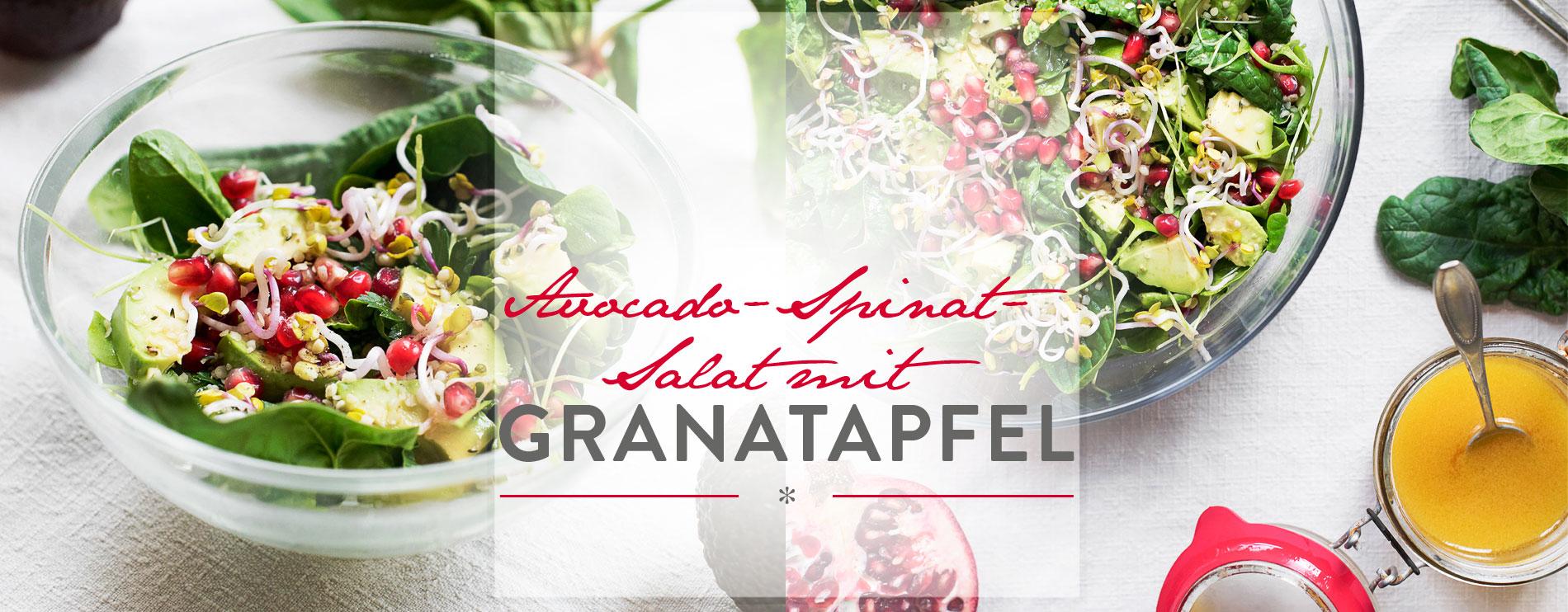 Header Avocado-Spinat-Salat mit Granatapfel