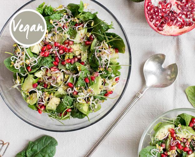 Avocado-Spinat-Salat mit Granatapfel