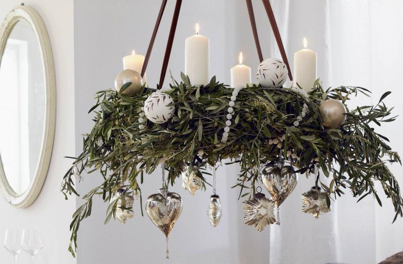 decoración navideña corona de adviento colgante