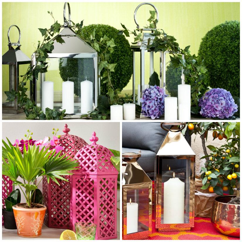 farolillos para la decoración de jardines