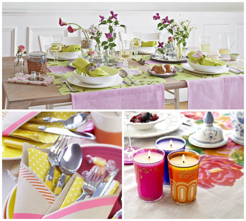 decoración de primavera poner la mesa