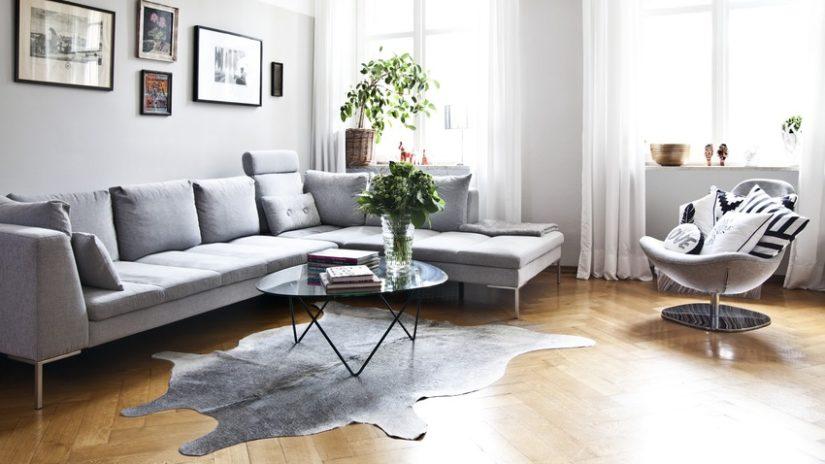 Decoración con cuero alfombra