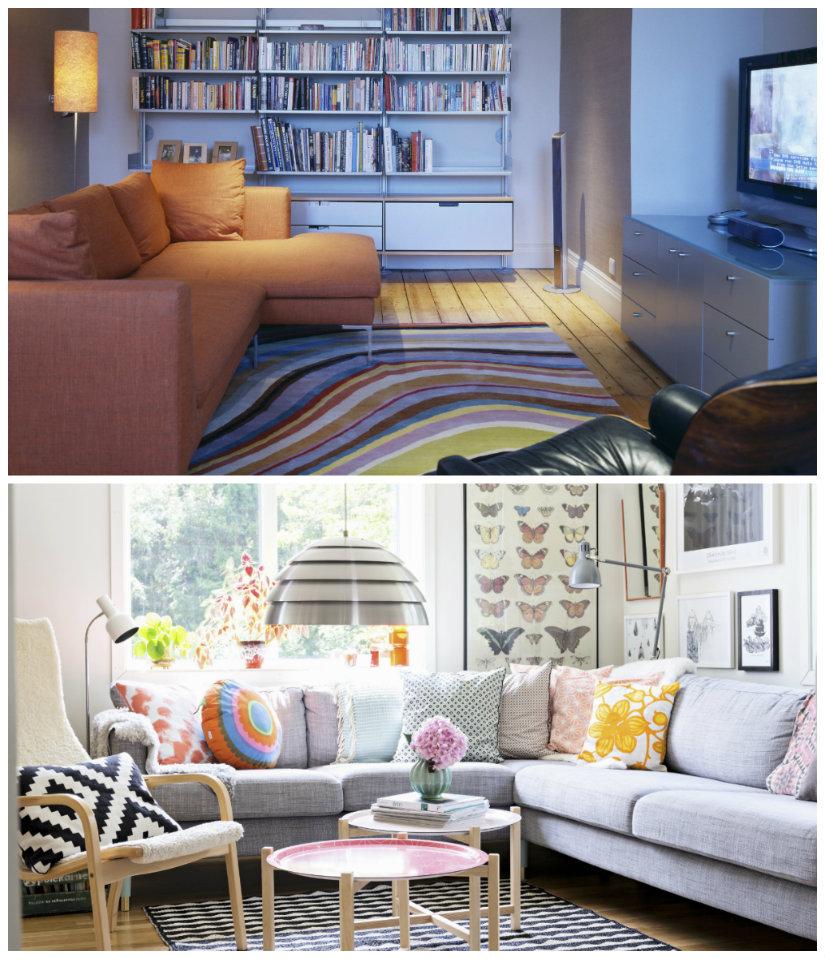 diseño de salones sofá de colores