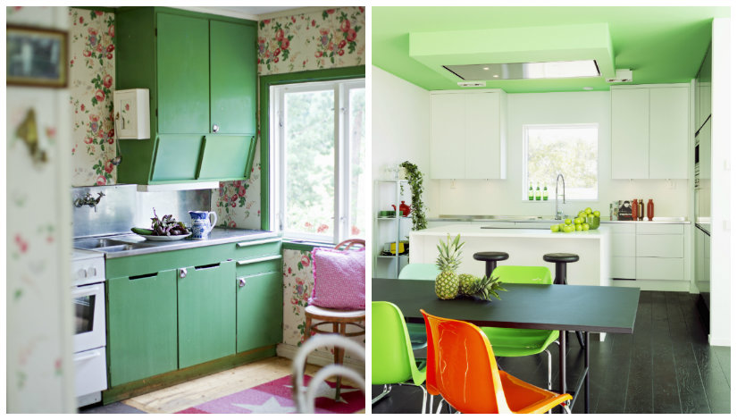 decoración de cocinas en verde