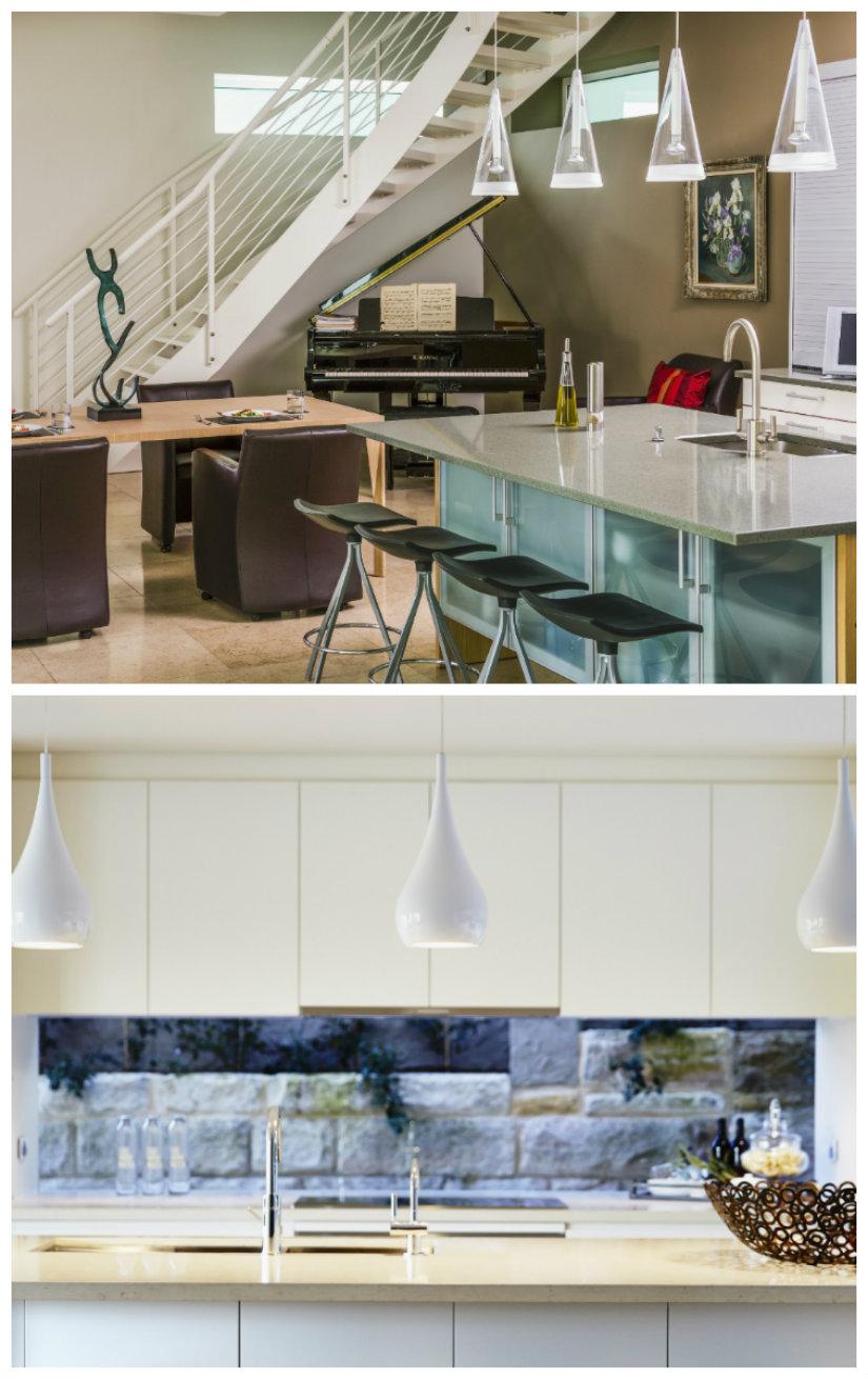 iluminación de cocinas con barra