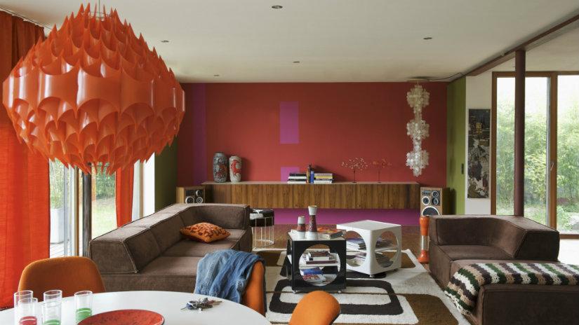 colores para salones naranja y marrón