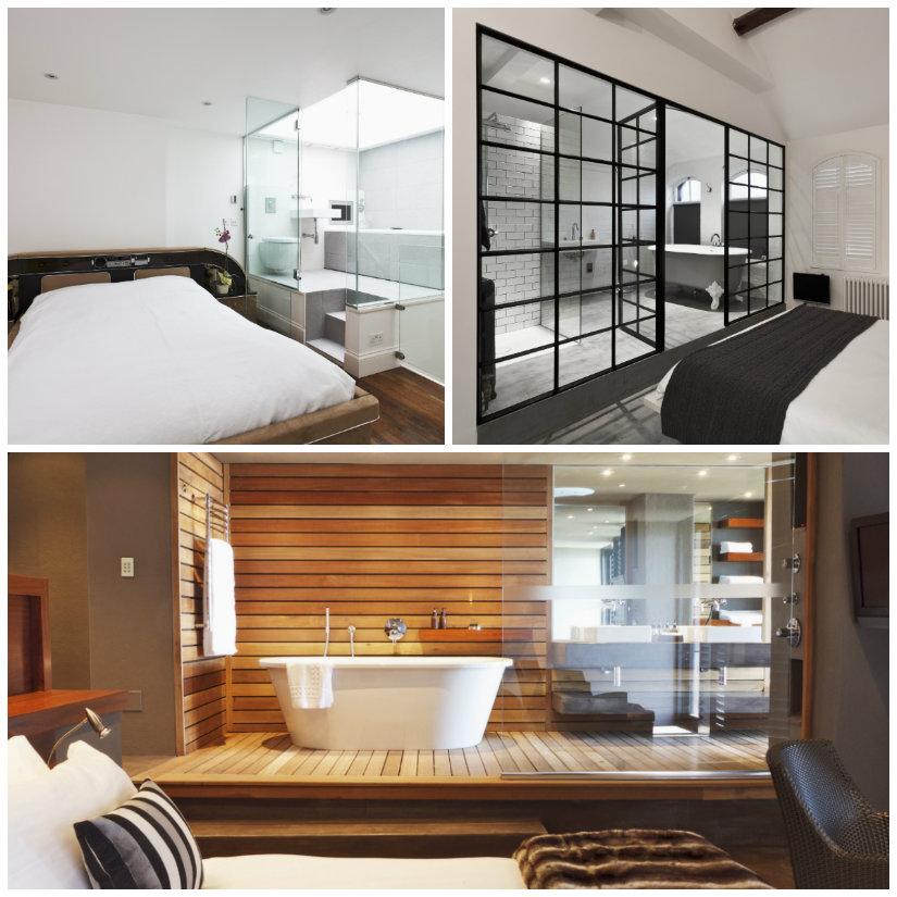baño integrado en el dormitorio cristalera