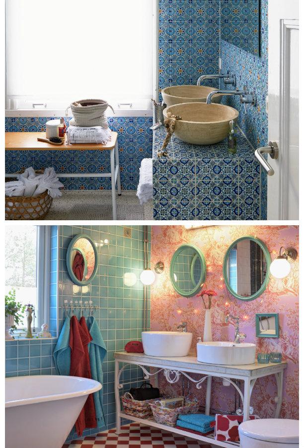 baño azul con azulejos