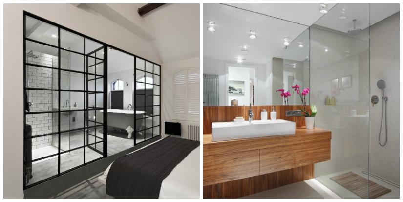 baño moderno acristalado