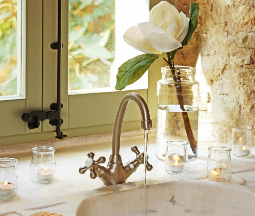 baño rústico cristal