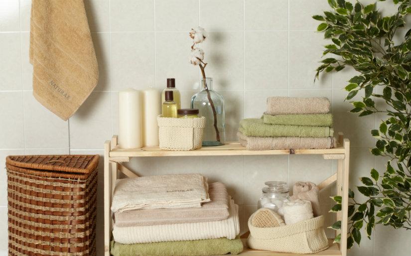 baño rústico estanterías de madera