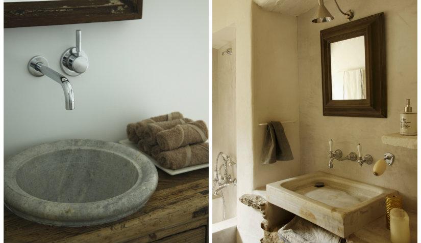 baño rústico lavabos de piedra