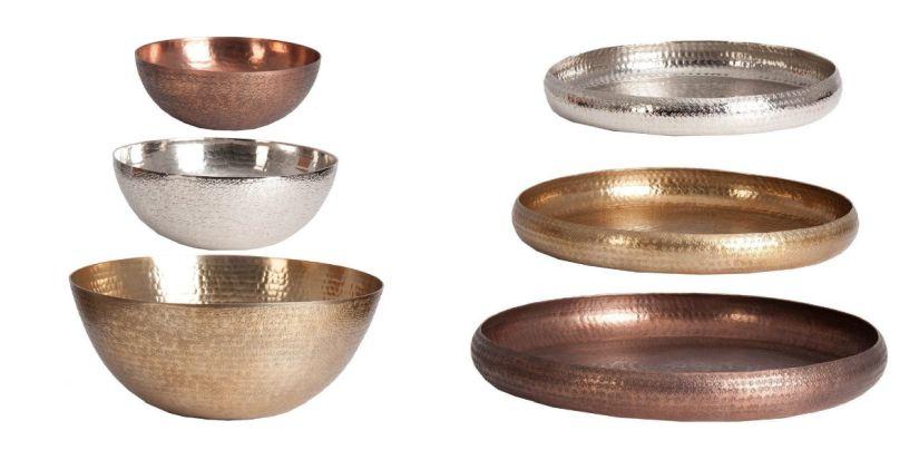 decoración con cobre oro plata