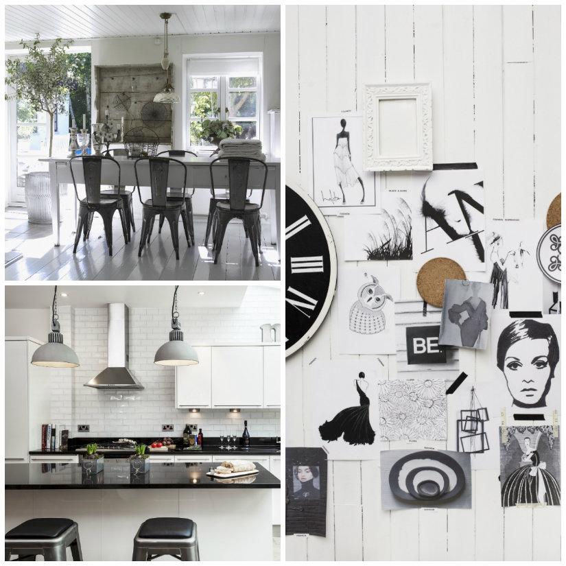 decoración de cocina en blanco y negro