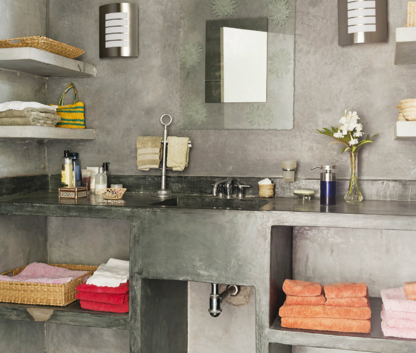 muebles de baño grises estilo industrial
