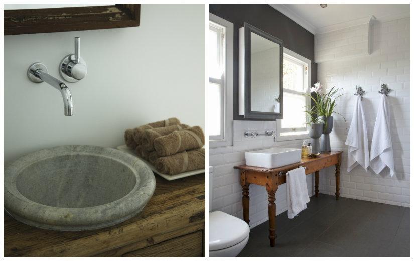 muebles de baño grises estilo rústico