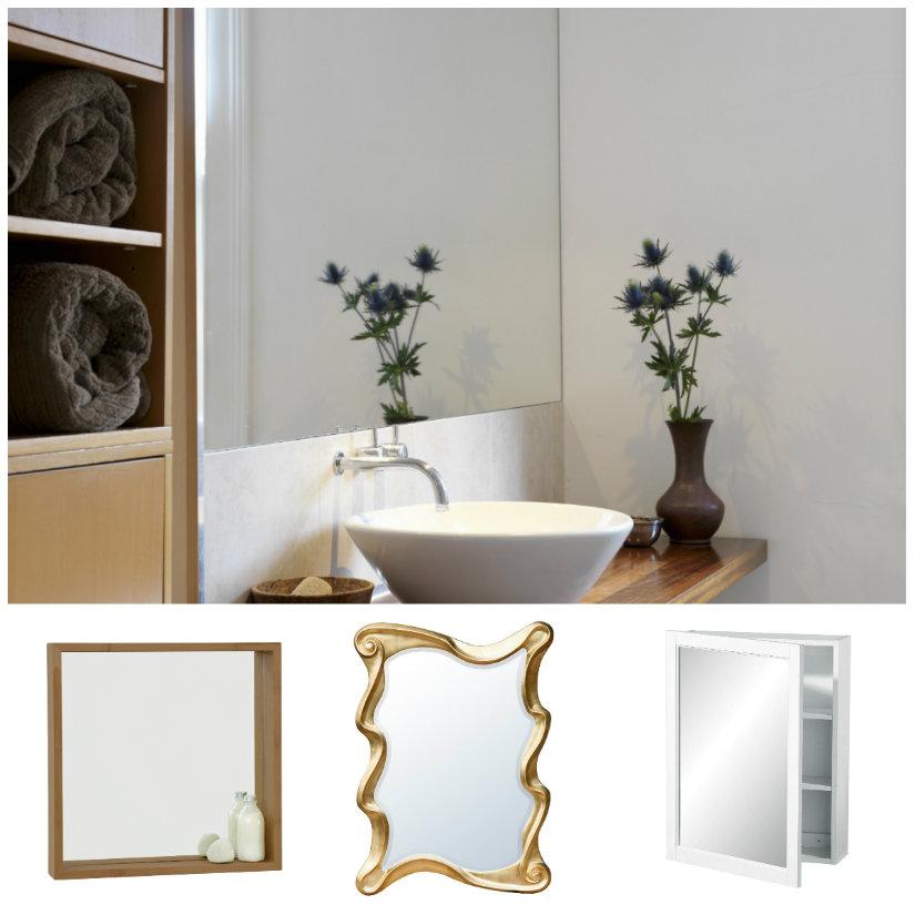 paredes para baños con espejos