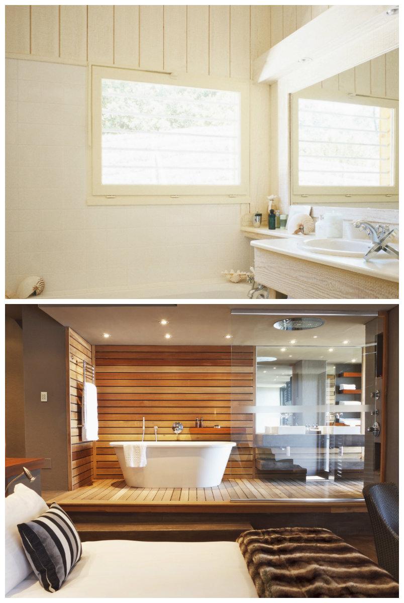 paredes para baños madera
