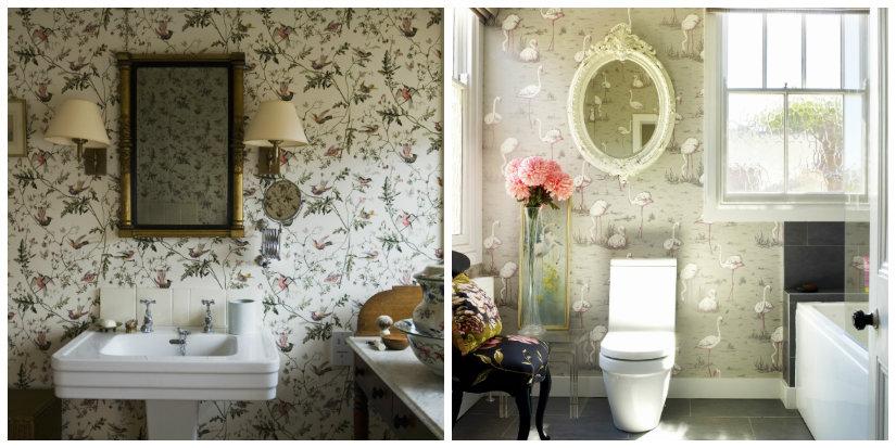 paredes para baños papel pintado