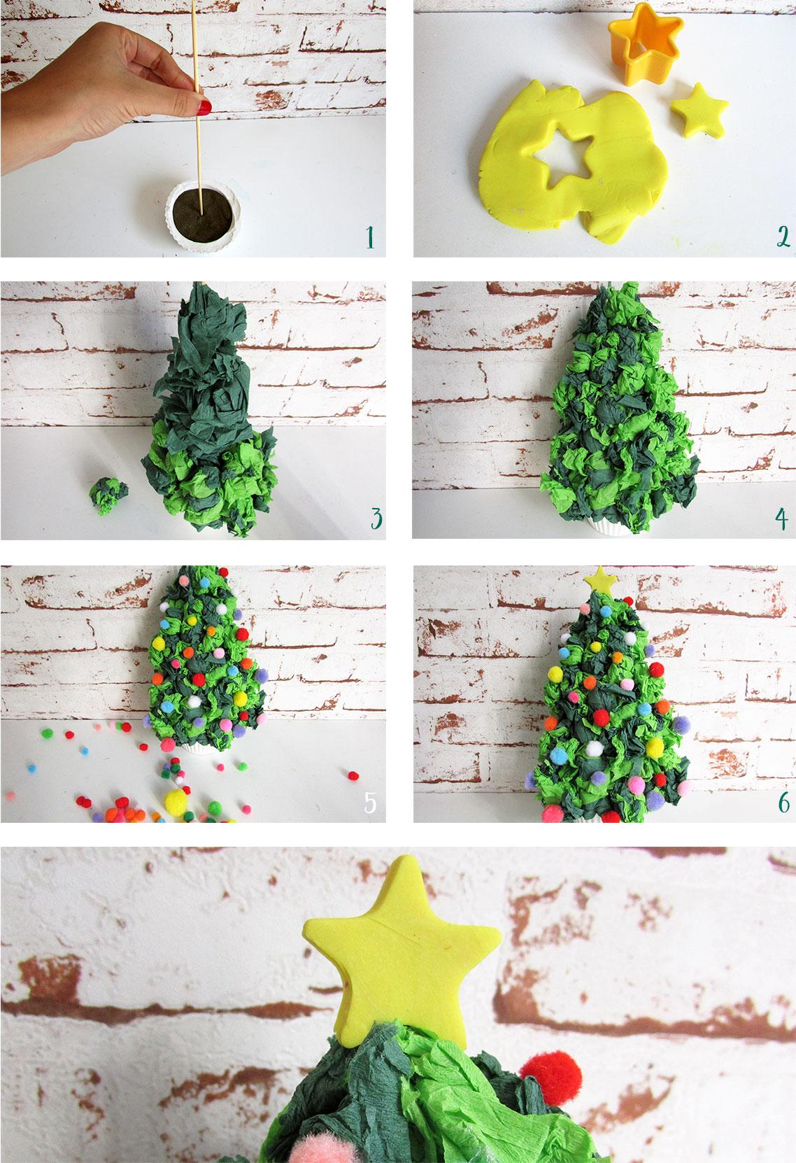 Rbol de navidad con papel crep divertido westwing - Adornos de navidad hechos a mano por ninos ...