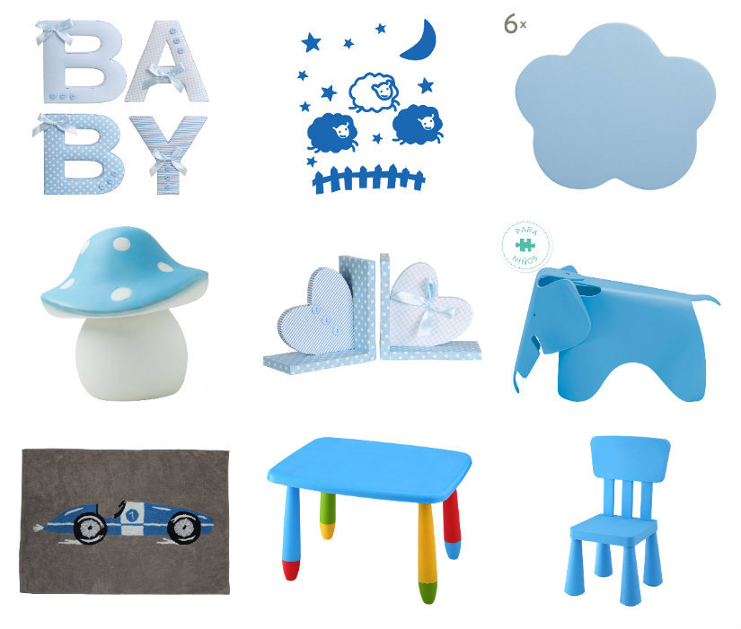 dormitorio azul infantil accesorios