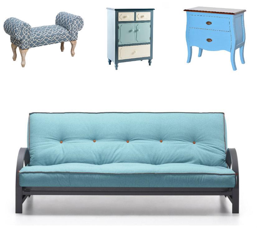 dormitorio azul muebles