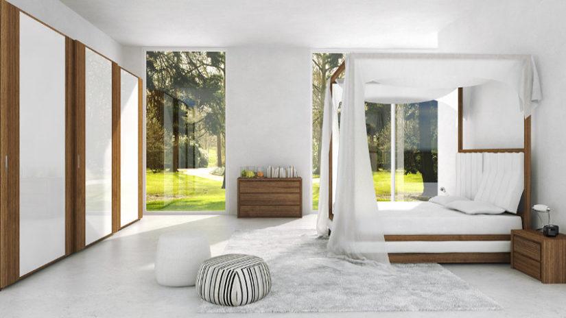 dormitorio blanco y cristal