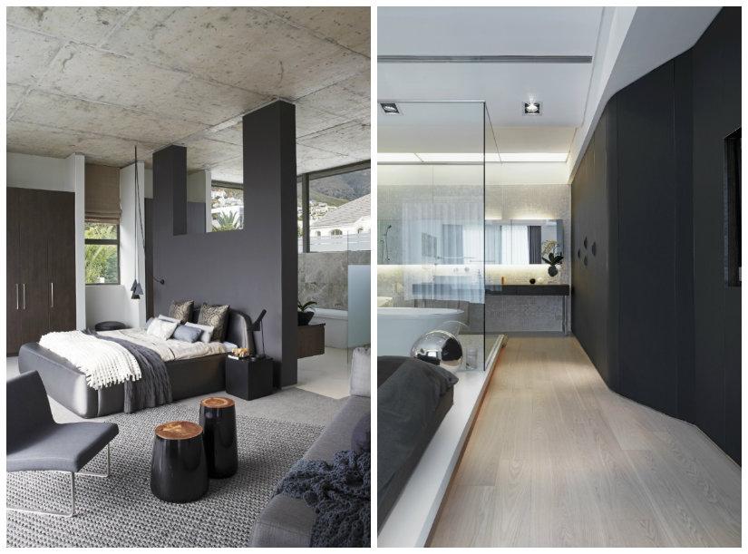 dormitorio blanco y negro con pared negra