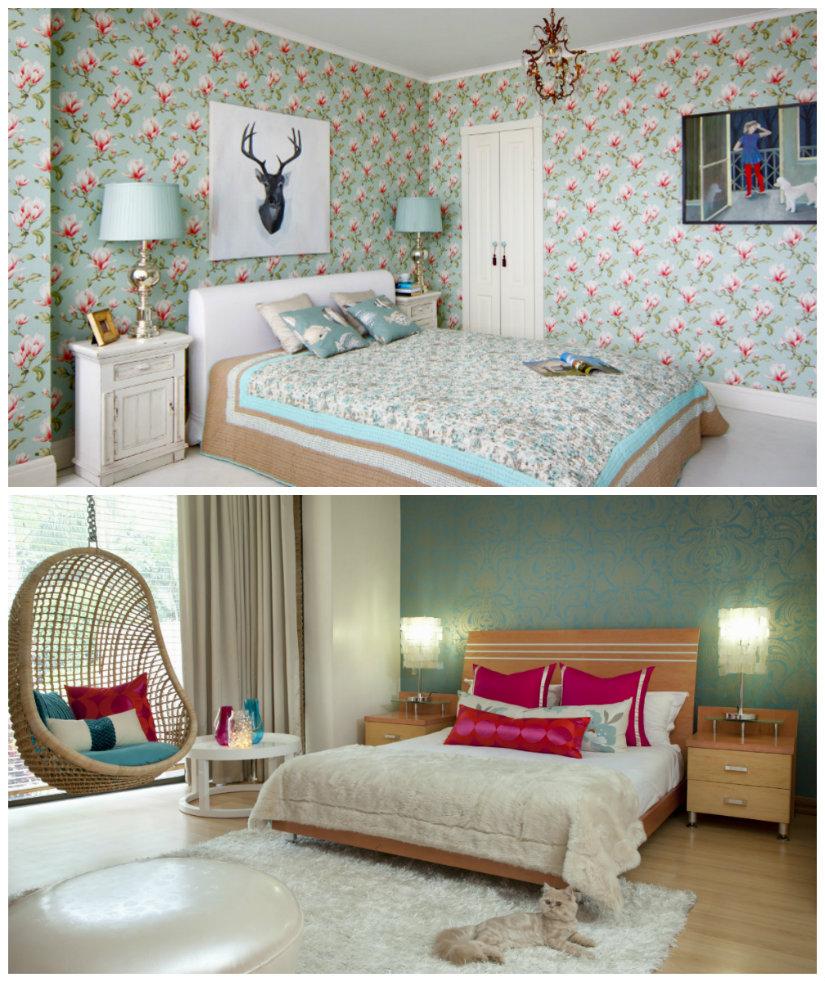 dormitorio de colores verde