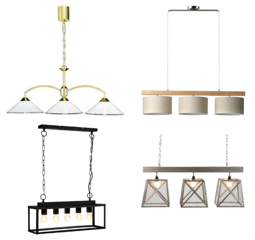 comedor rectangular lámparas