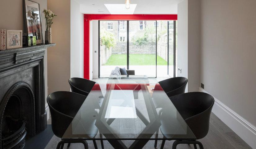 comedor rectangular ventanas