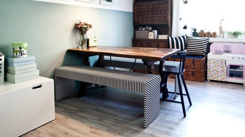 decoración de cocinas mesas con banco
