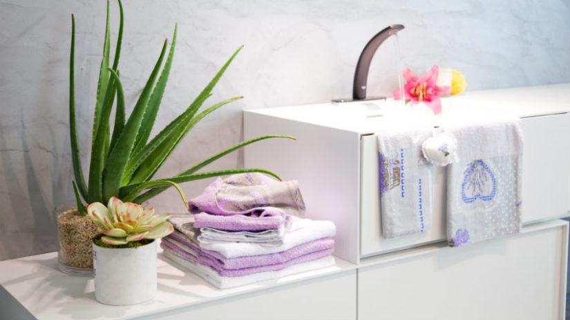 decoración con plantas de interior en el baño