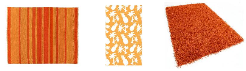 dormitorio naranja alfombras y papel pintado