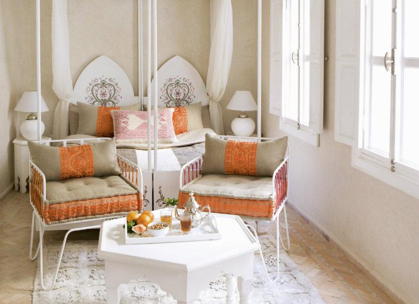 dormitorio naranja elegante