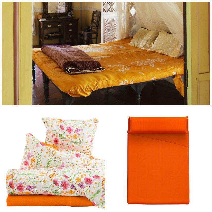 dormitorio naranja textiles