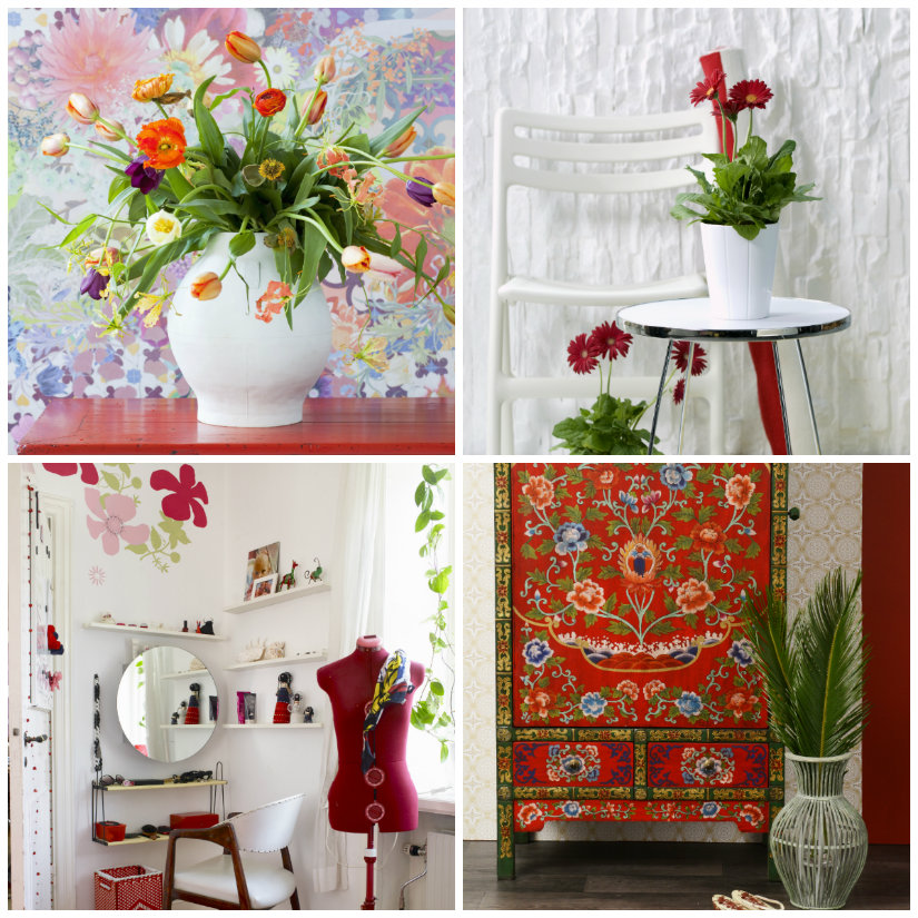 Dormitorio rojo con flores