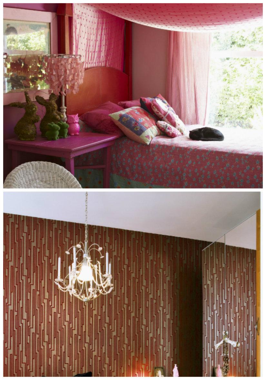 dormitorio rojo iluminación