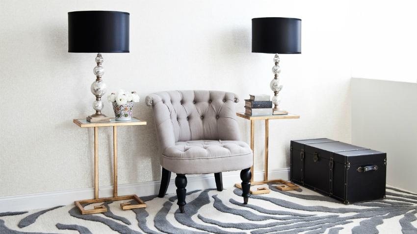 papel pintado de cebra y alfombra