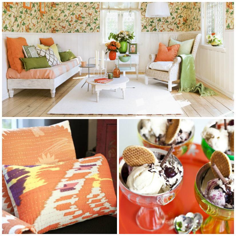 salón naranja y accesorios