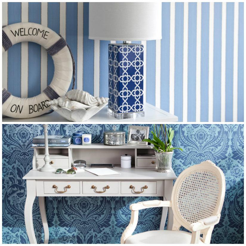 papel azul con papel pintado