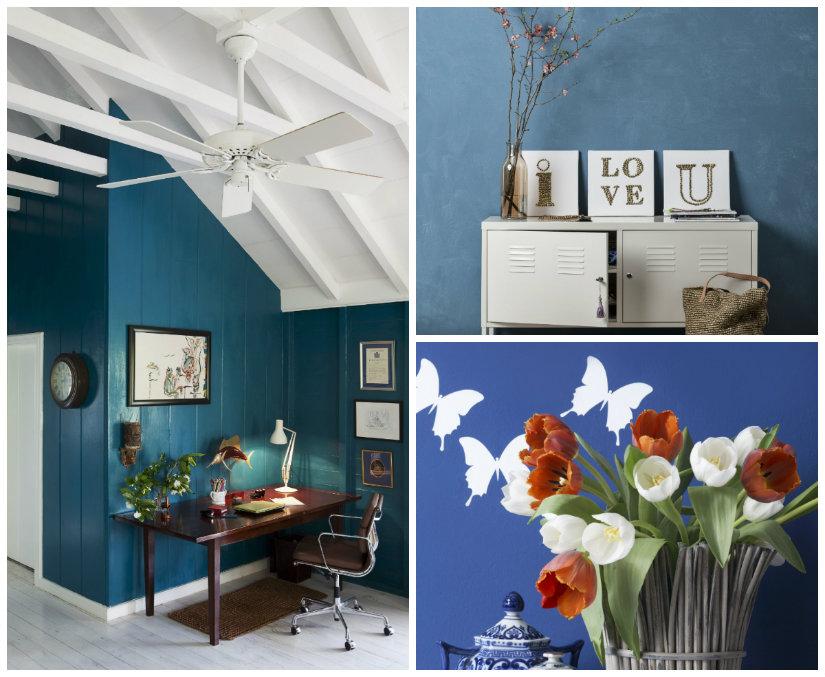 pared azul estilos